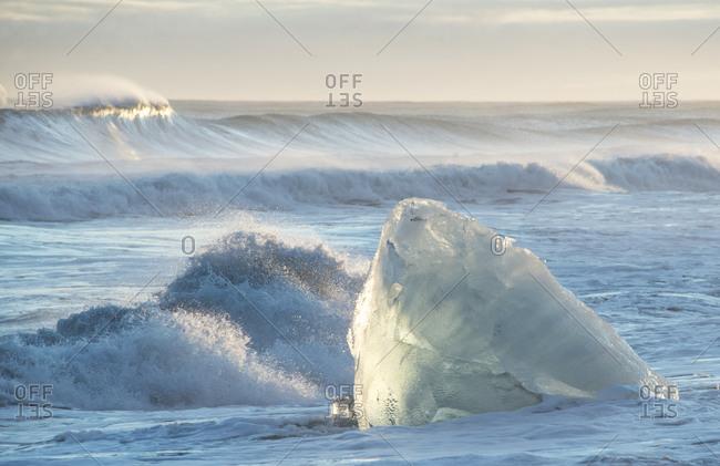 Melting iceberg in the ocean