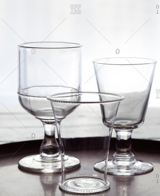 Glass vase and stemware