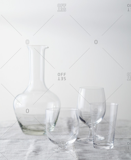 Glass carafe and glasses