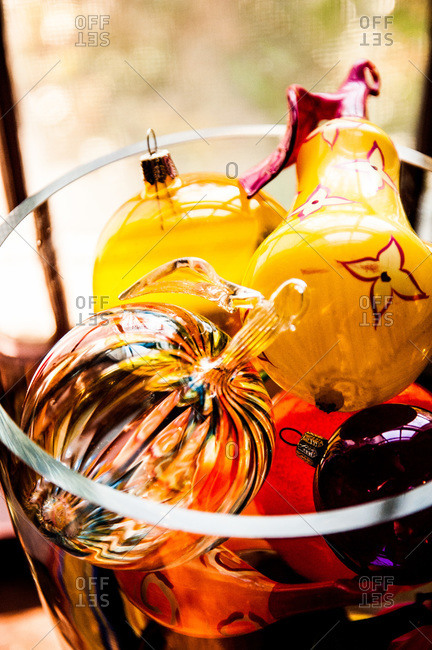 Bowl of Christmas decorations