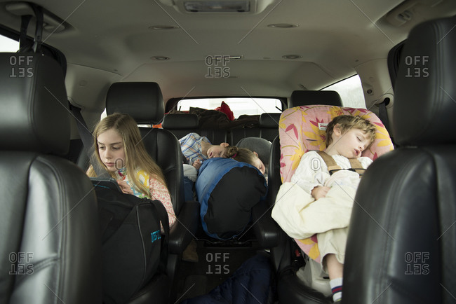 Children traveling by car