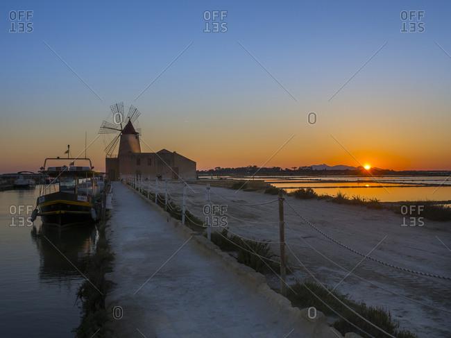 Saline Ettore Infersa windmill at sunset, Marsala, Sicily