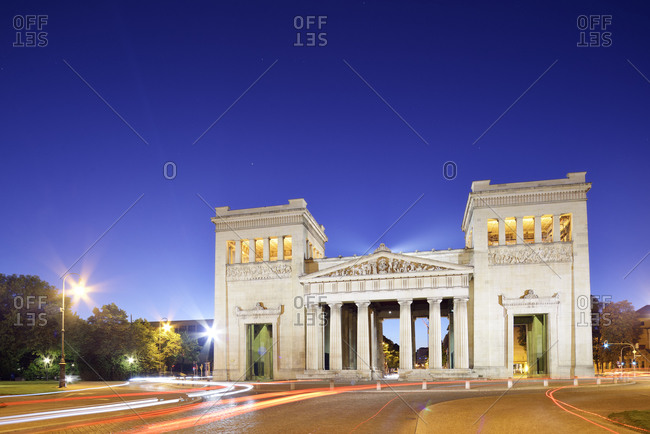 Munich, Germany - December 1, 2014: Propylaea at Koenigsplatz at blue hour