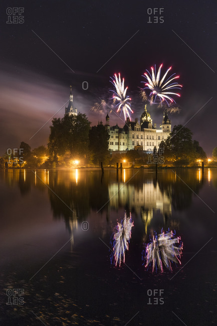 Fireworks at the castle, Mecklenburg-Vorpommern, Germany