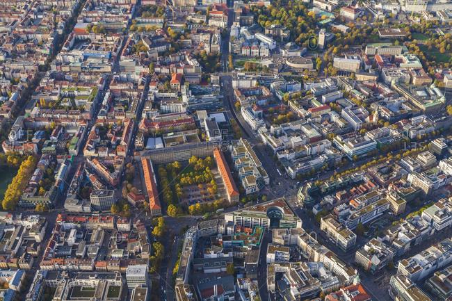 Aerial view of city center, Stuttgart