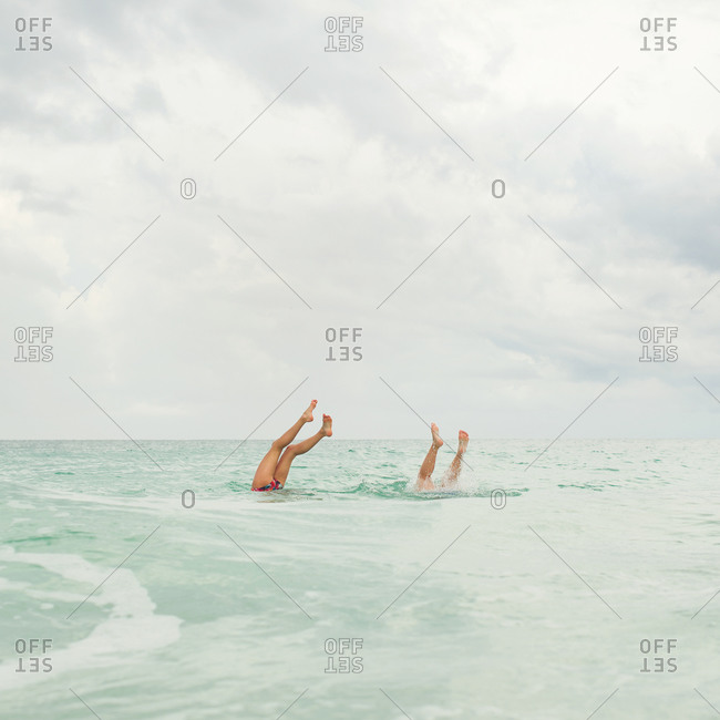 Children bathing in the sea