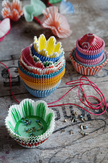 Cupcake wrappers and split pins