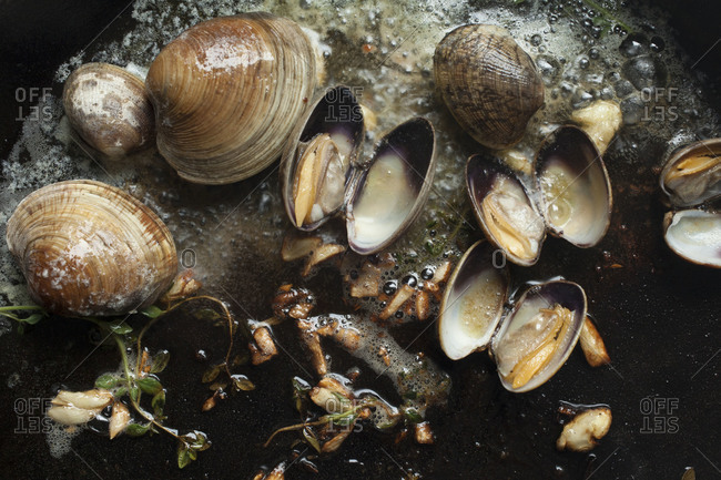 Clams cooking in garlic butter