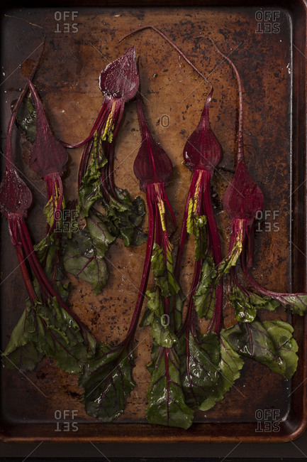 Beets on a baking pan