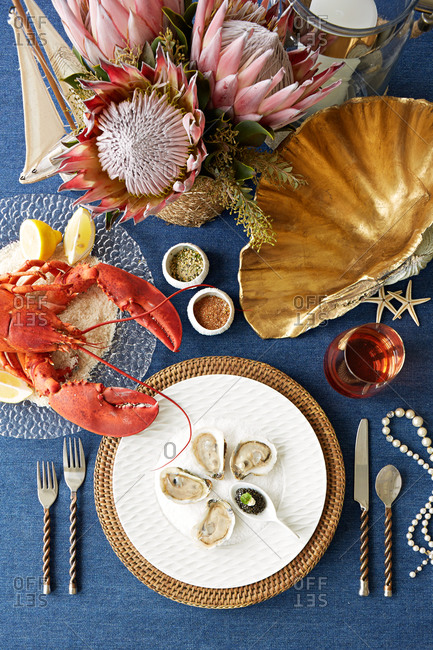 Table set with seafood
