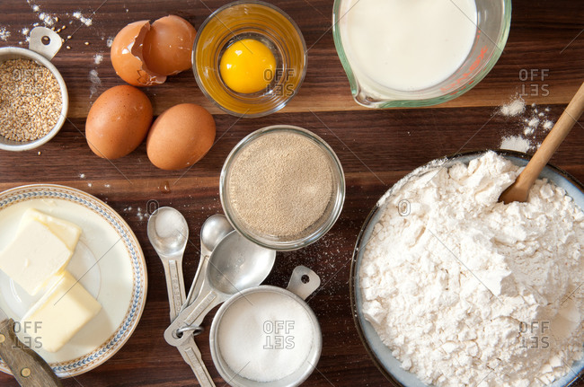 Overhead shot of baking ingredients on wood table