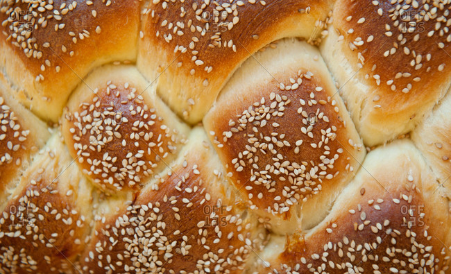 Close-up of braids of a challah loaf