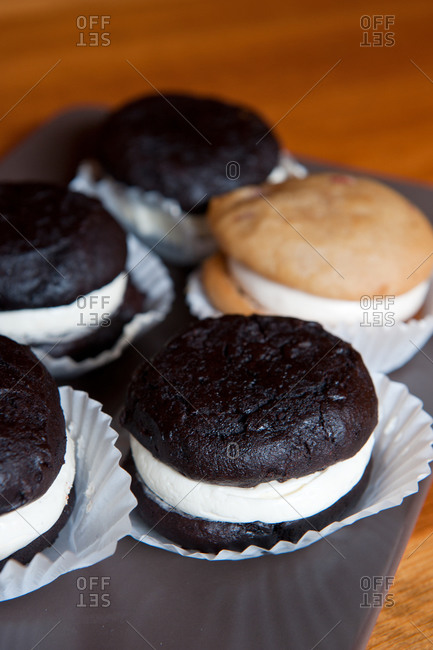 Fresh-baked whoopie pies on a plate