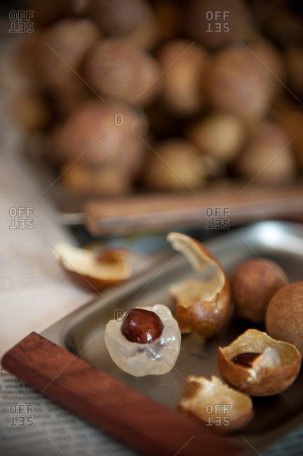 Tray of longan fruit