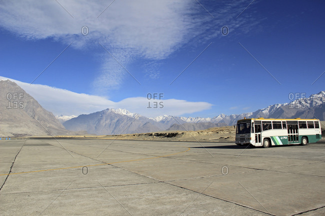 November 25, 2011: Bus parking at the airport of Skardu, Pakistan