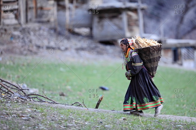 March 20, 2011: Elderly woman carrying firewood