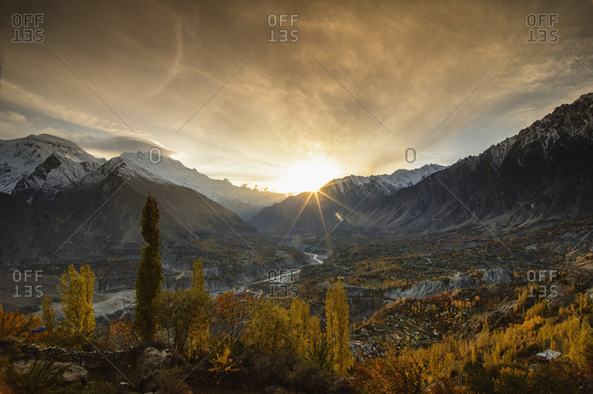 Sunset landscape at Hunza