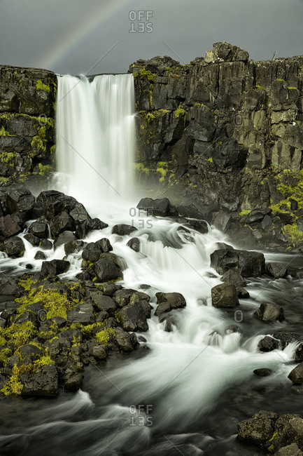 View of Oxararfoss waterfall in Iceland