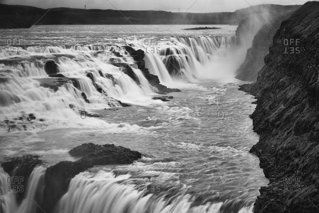 Gullfoss waterfall in Iceland in black and white