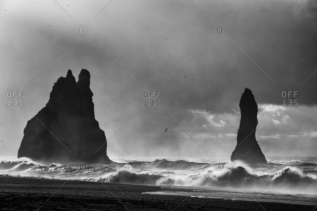 Rock formation on the beach near Vik i Myrdal, Iceland