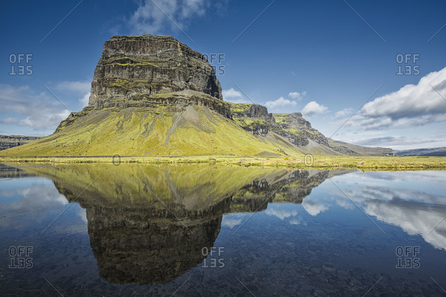 Reflection of a mountain in a lake