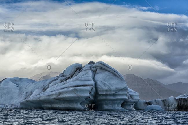 Blue icebergs in Jokulsarlon lagoon, Iceland