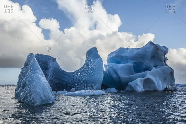 Floating icebergs in Jokulsarlon, Iceland