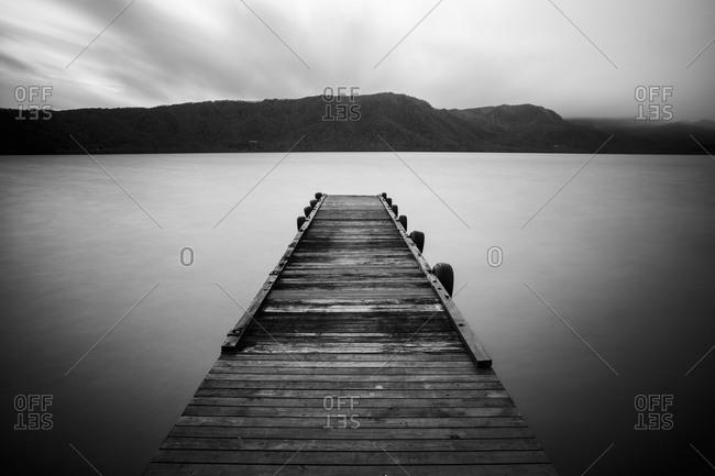 Pier on the Towada lake in Japan