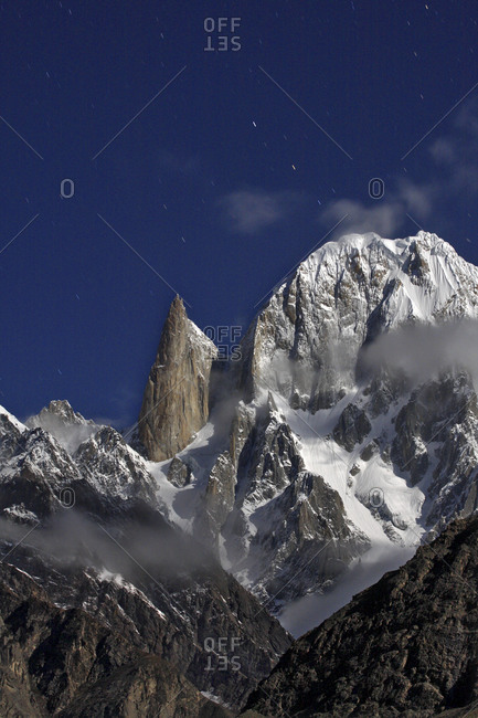 Ladyfinger peak in Hunza at night, Pakistan