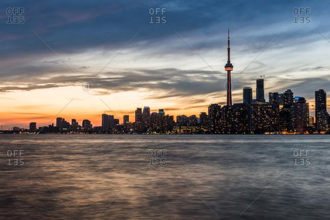 The Toronto skyline at dusk