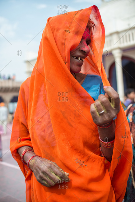 Nandgaon, India - March 10, 2014: Portrait of an elderly woman celebrating Holi Festival in Nandgaon, India