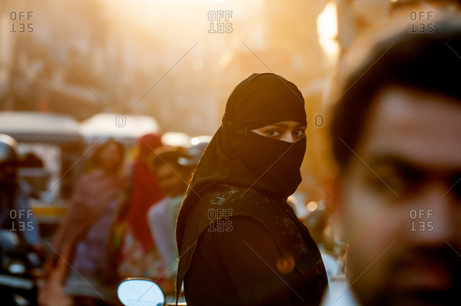 Jodhpur, India - March 7, 2014: Woman wearing a hijab on the street in Jodhpur, India