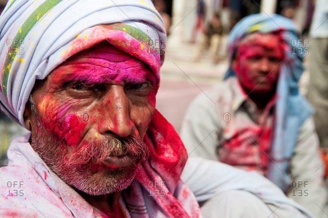 India - March 10, 2014: Portrait of a man at the Holi festival in India