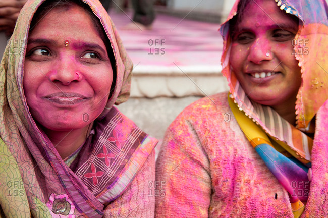 Nandgaon, India - March 10, 2014: Woman celebrating the Holi Festival in Nandgaon, India