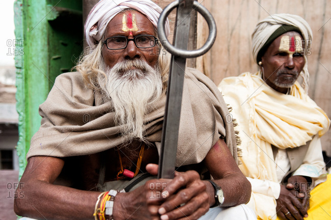 Nandgaon, India - March 10, 2014: Portrait of two Sadhus in Nandgaon, India