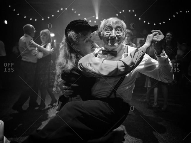 Glasgow, Scotland - July 28, 2013: Senior couple dancing at a vintage festival
