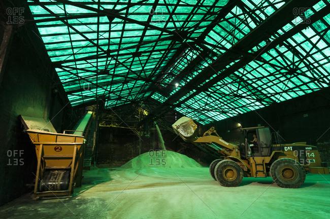 Visayan Island, Philippines - April 2, 2013: Raw sugar in stocking hall