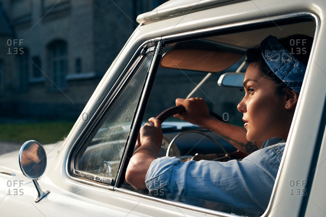 Woman in old truck