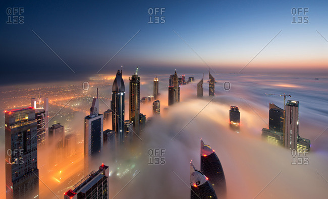 Dubai, UAE - May 12, 2013: Foggy Dubai skyline