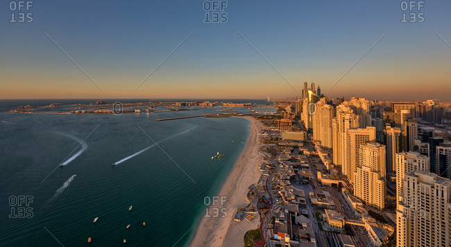 Dubai shoreline at dusk