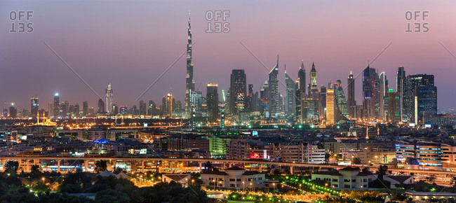 Dubai skyline in dusk