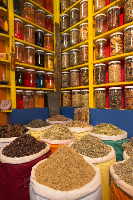 Traditional herb pharmacy in Marrakesh, Morocco