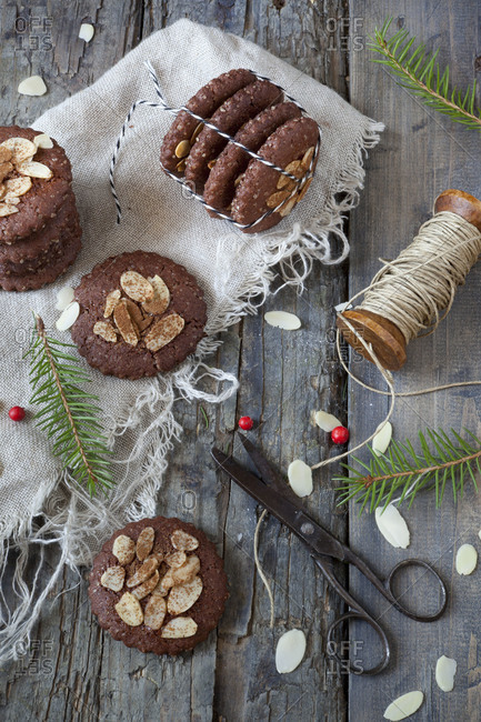 Homemade gingerbread and almond cookies for Christmas