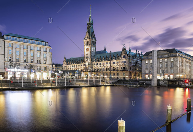 View of the Alster at night in Hamburg, Germany