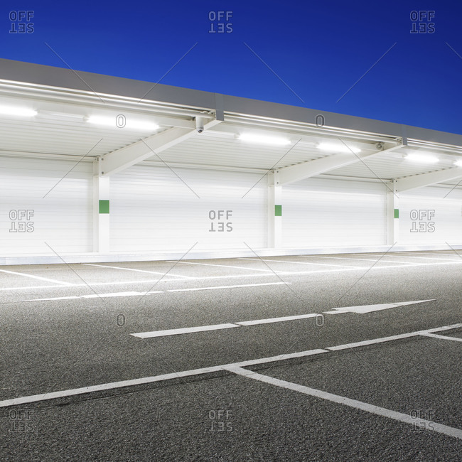 Outdoor parking lot at night