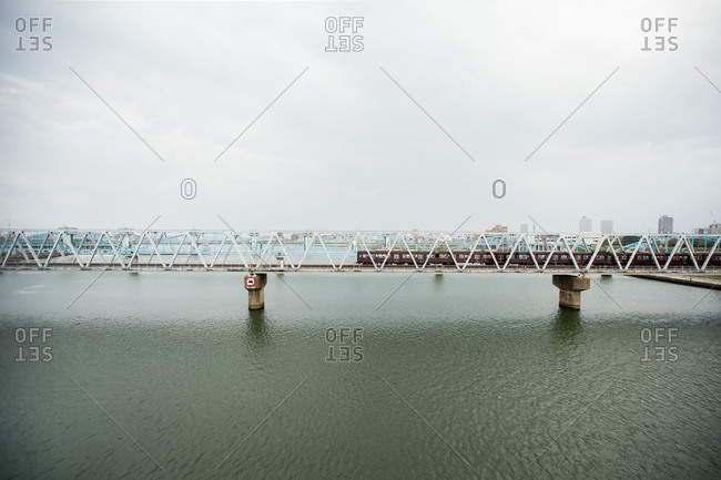 Railroad bridge over the Yodo River, Osaka, Japan
