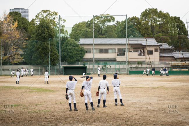 Boys playing baseball, Takatsuki, Japan