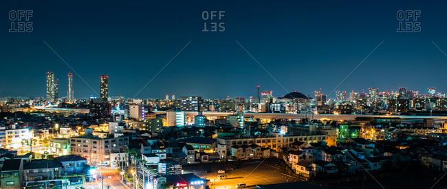 December 3, 2014:  Skyline at night, Osaka, Japan