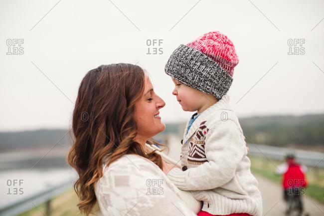 Toddler son gazes adoringly at his mother