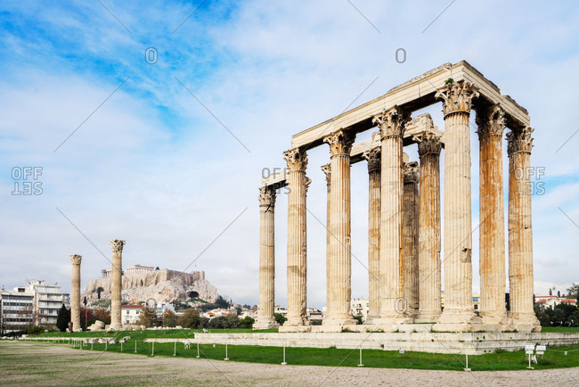 Temple of Olympian Zeus with the Acropolis in the background